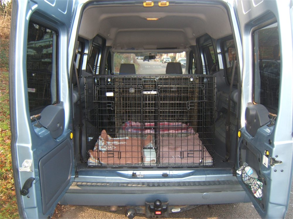 A rear view of the cages in our van